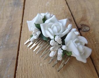 Wedding Hair Comb , Bridal Hair Piece, Bridal Rose Hair Comb, White Flower Hair Comb Romantic, Hair Accessories, Bridesmaid Gifts