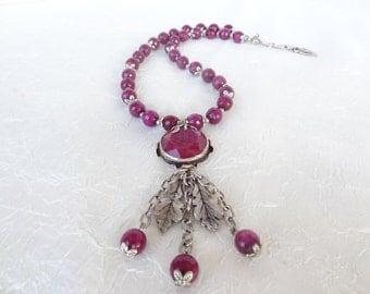 Dark Fuchsia Agat Necklace, Dark Fuchsia Jewelry, Dark Fuchsia Pendant,  Stones Necklace, Feminine OOAK Necklace, Valentines