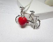 Free silver Bike Necklace-Tiny pink Bicycle- Bicycle Pendant ,Bicycle jewelry and   Free gift