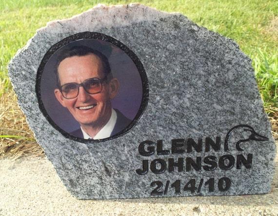 memorial, memorial rock, memory rock, photo rock, custom engraved rock, engraved rock