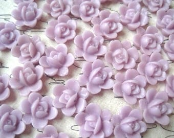 Resin Flower, Light Lilac Flower Cabochon, 6 pcs, 13mm Resin Cabochon Flat Back, Perfect for Earrings