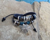Leather Butterfly Beaded Bracelet or Anklet! Makes a Pretty Gift!