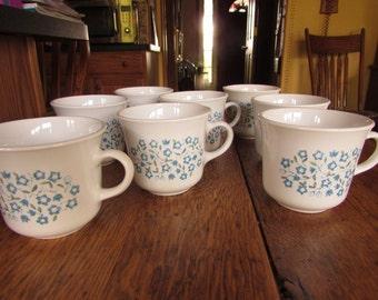 CORELLE (8) Blue Heather Flowers Cup Mug Eight Corning
