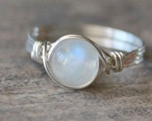 Moonstone Ring, Sterling Silver Filled Moonstone Wire Wrapped Ring, Gemstone Ring, Stone Ring