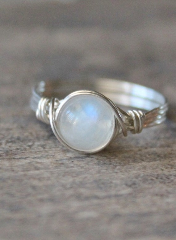 Moonstone Ring, Stone Ring, Sterling Silver Filled Ring, Wire Wrapped Ring