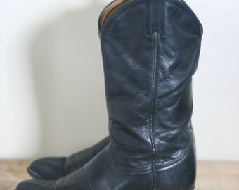 vintage tony lama black leather cowboy boots men's size 8EE