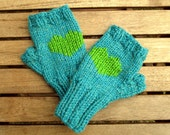 heart mittens fingerless mittens blue mittens turquoise mittens blue and green christmas gift winter fashion