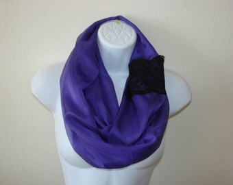 purple  infinity scarf with lace, purple chiffon scarf, spring scarf, black lace summer scarf, circle loop scarf woman fashion scarf