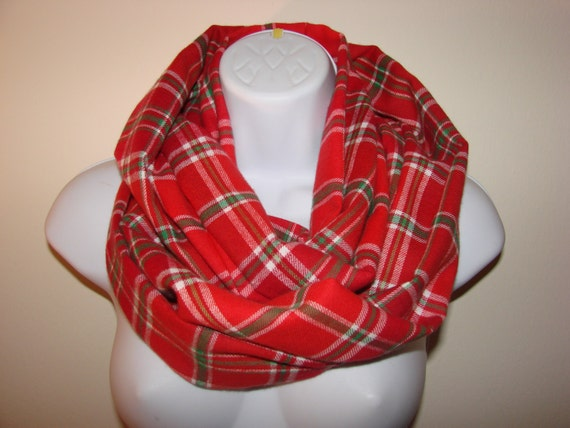 Red And Green Plaid Scarf Red Plaid Infinity Scarf