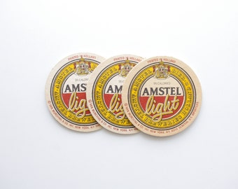 Vintage Amstel Light Beer Coaster - Set of 3 - Beer Advertising, Vintage Bar