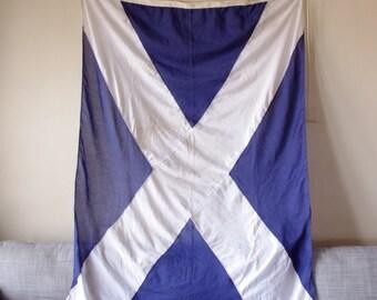 Large Vintage Nautical Signal Flag - Blue and White - Scottish Flag