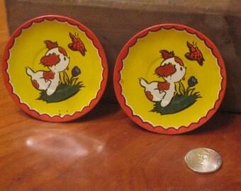 Two Adorable Tin Plates / Dog Tin Plates / Ohio Art