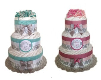 Silver Damask Baby Shower Diaper Cake - Pink or Teal Blue