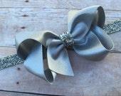 Silver headband - silver baby headband, silver boutique bow headband, silver headband, Christmas headband