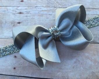 Silver bow headband - silver baby headband, silver boutique bow headband, silver headband, Christmas headband, baby bow headband, baby girl