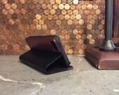IPHONE 5/5S portfolio case vintage black leather and rosewood case