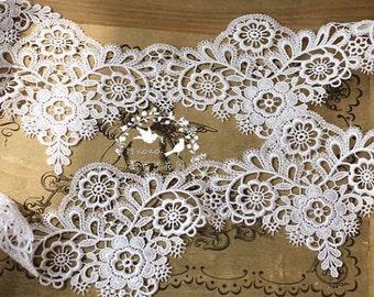 off white lace trim, venise lace, bridal lace trim, guipure lace trim for bridal veil, scalloped lace trim