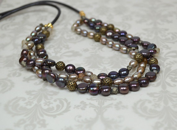 multi strand pearl necklace on leather cord multi by
