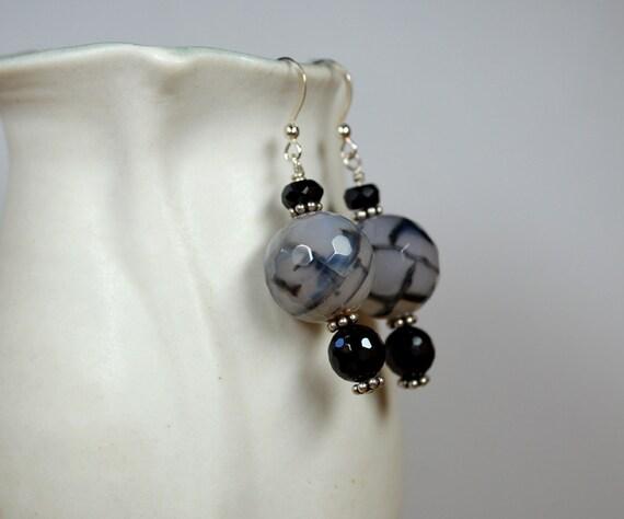 Chunky stone drop earrings Unique Dragons Vein agate and Black onyx semi precious stone dangle earrings Big bold bead earring Office jewelry