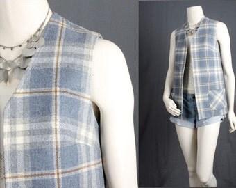 Blue Plaid vest waistcoat jacket coat armless jacket white top men women unisex S Small
