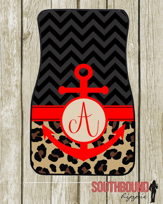 Personalized Anchor Leopard Car Mats Monogrammed By