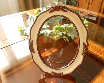 5x7 Vintage oval picture frame upcycled antique look, ornate,standing frame.