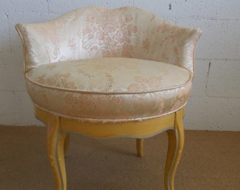 Beautiful Mid Century Heart Shaped Back Swivel Vanity Chair