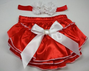 CHRISTMAS OUTFIT, Red Ruffled Diaper Cover with White Surged Edges, Bow and Rhinestone Embellishment and Matching Headband, Infant - Toddler