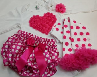 VALENTINES OUTFIT Hot Pink Heart on Long Sleeve Onesie with Matching Headand, and Polka Dot Leg Warmers, and Ruffled Diaper Cover, 0- 24 mos