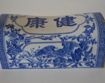 Vintage takamakura geisha head rest pillow, blue and white ceramic