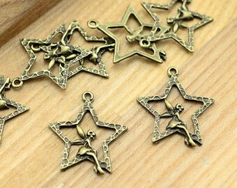 20pcs High Quality--Antiqued Vintage Bronze Angel Charm Pendant,Holiday Charm, Pendant