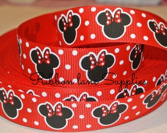 "7/8"" Ribbon by the yard-Disney Minnie Mouse Red White Polka dot  Ribbon -Hair bows WHolesale by Ribbon Lane Supplies"