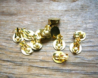Clip On Earring Blanks - Gold Tone - Earring Findings - Jewelry Findings - Clip Ons