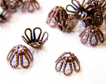 36 Pcs Bead Caps, Antique Copper, 7mm Filigree Vintage Style - eBCB001-AC