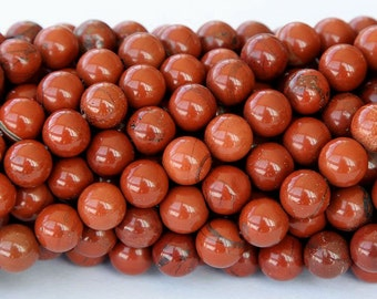 Red Jasper Beads, 8mm Round - 15 inch Strand - eGR-JA013-8