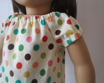 Pretty Colorful Polka Dot Peasant Top for American Girl 18 inch doll Bitty Baby