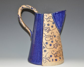 Tall ceramic Sapphire blue pitcher, with flowers texture, bare clay and dark blue glaze, Holiday gift, housewarming gift
