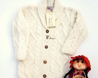 ALPACA Wool  jacket, 1 to 2 years old, hand knitted, baby sweater,cardigan, boy, bone, pearl, Ready to ship. Febress