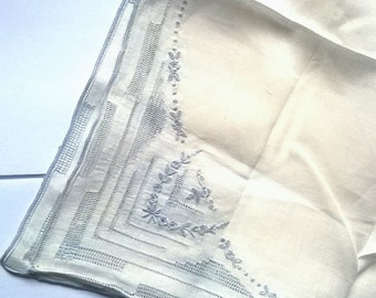 Antique Handkerchief White Blue Embroidery 1920s