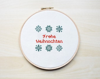Frohe Weihnachten Cross Stitch embroidery pattern, Cross Stitch Pattern, German Christmas Pattern, Embroidery Pattern -PDF Instant Download