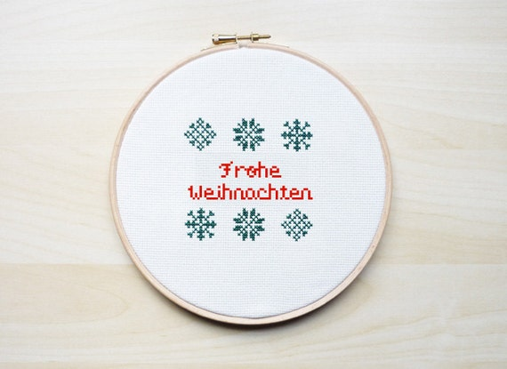 frohe weihnachten cross stitch embroidery pattern cross. Black Bedroom Furniture Sets. Home Design Ideas