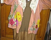 FLAX ECO LINEN Jacket, Upcycled Farmers Market Shirt, Shabby Chic Gardener, Handmade Plus Tunic, Colorful Garden Appliques, Tattered Lace