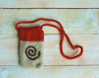 Tarot Card Pouch - Hand Knitted Felted Bag with Strap and Button Flap