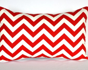 Red and White lumbar pillow Accent pillow Throw Pillow cover sofa pillow Lumbar pillow