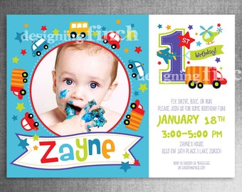 Toy Cars First Birthday Invitation Photo Card, 5x7, Printable, Custom #139