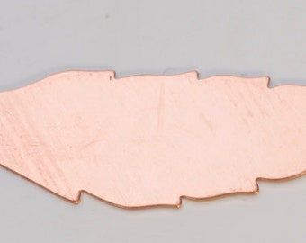 Copper Stamping Blanks Feather 60 x 15mm 24ga Package Of 6