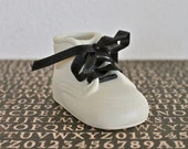 Vintage Baby Shoe Ceramic Creepy Goth Collectible Ivory Bisque Infant Doll Shoe