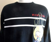 vintage 80's 90's Jean-Charles J.C. de Castelbajac Sport black jersey knit white chest stripes embroidered applique Bowling Snoopy designer