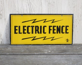 Mid Century Industrial Sign - Electric Fence Warning w/ Lightning Bolts