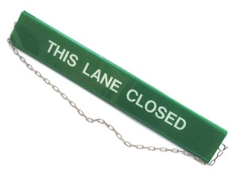 THIS LANE CLOSED - Vintage Supermarket Grocery Store Lane Sign - On Chain - Green Plastic